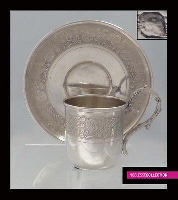 FINE ANTIQUE 1900s FRENCH STERLING SILVER COFFEE CUP & SAUCER by Paul TALLOIS