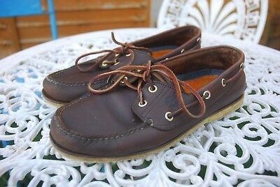 Men's Timberland Classic Brown Leather Deck Boat Shoes US 8.5 W Uk 8 Wide