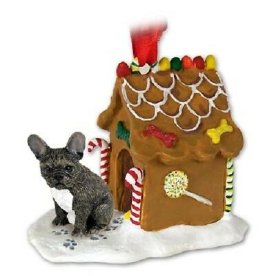 FRENCHIE GINGERBREAD DOG HOUSE Christmas Ornament HANDPAINTED FIGURINE black pup