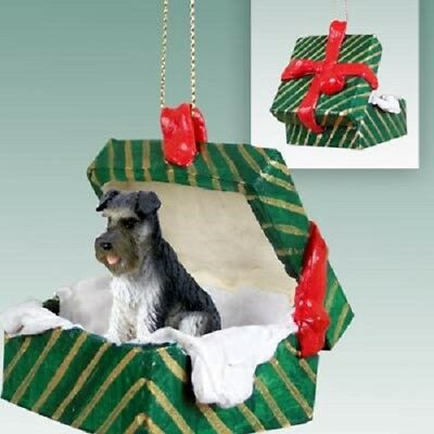 SCHNAUZER Christmas GIFT BOX gray uncropped Dog Ornament HAND PAINTED FIGURINE