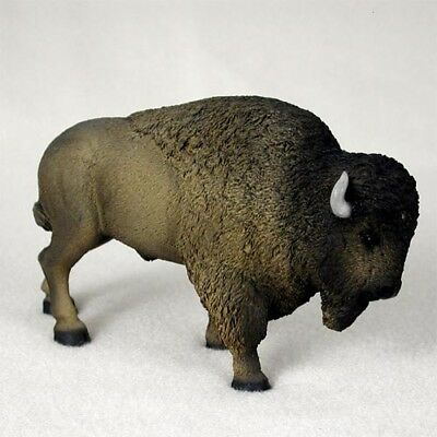 BUFFALO brown Bison HAND PAINTED FIGURINE Animal Statue resin COLLECTIBLE NEW