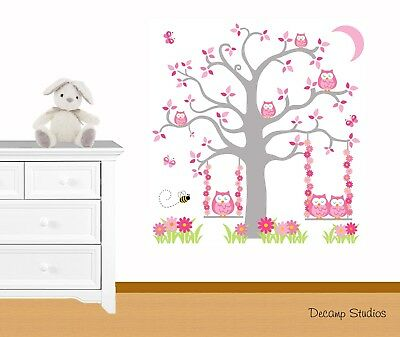 Owl Tree Nursery Swing Decal Baby Girl Wall Art Mural Pink Gray Woodland Animals