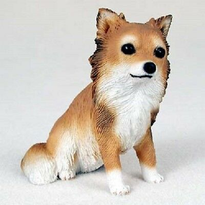 LONG HAIR CHIHUAHUA Dog HAND PAINTED FIGURINE Resin Statue COLLECTIBLE longhair