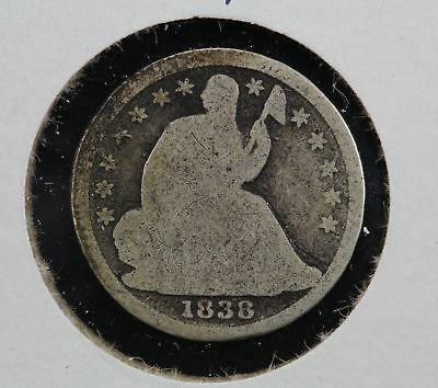 1838 Seated Liberty Half Dime No Drapery Normal Stars