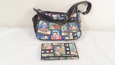 2pc 2008 Betty Boop Comic Strip Design Purse Shoulder Bag w/tag & Wallet Set