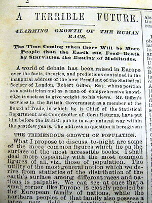 1883 newspaper w long essay PREDICTING & WARNING of OVERPOPULATION of the Earth