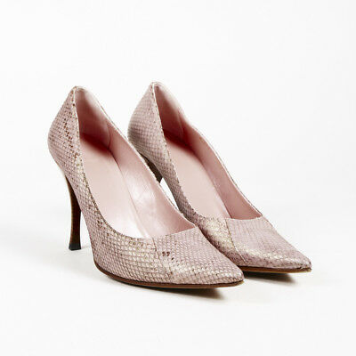 c06ea38ed09 Gucci Snakeskin Embossed Leather Pointed Pumps SZ 10.5