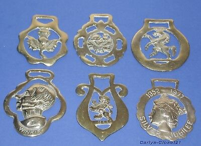COLLECTION OF 6 VINTAGE HORSE BRASSES * Brass * All Different *