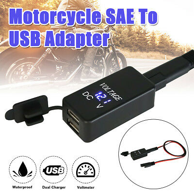 12V Motorcycle SAE To USB Dual Port Cable Adapter Power Charger & LED Voltmeter