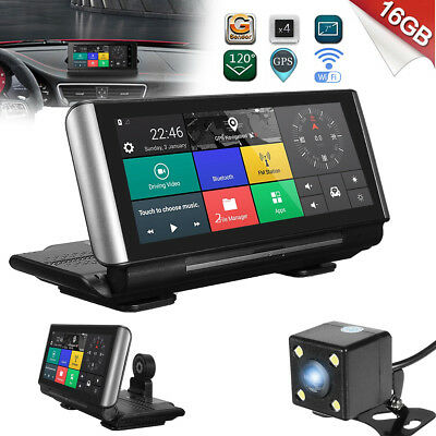 WiFi 7'' 1080P Android Car DVR Dual Camera Rear Driving Recorder + GPS Navigator