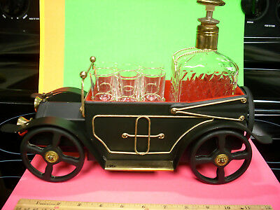 HOW DRY I AM decanter vinage set bar music box Japan antique car