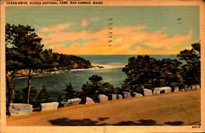 Postcard Ocean Drive Acadia National Park Bar Harbor maine