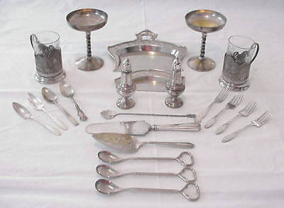 Vintage Lot Sterling Silverplate Silver Tone Goblets Shakers Flatware More