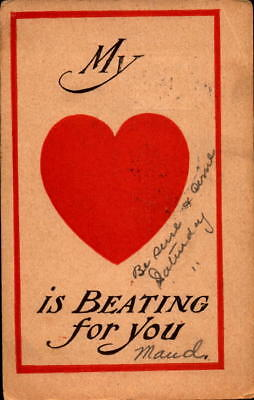 Postcard My Heart is Beating For You 1908 Postmark romance Valentine