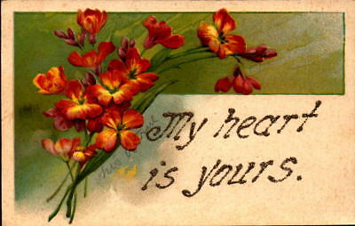 Postcard My Heart is Yours Valentine card floral romance embossed