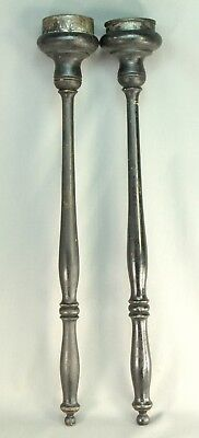 """Antique 1800's Victorian Pair of 24"""" Flame Torches Ebonized Wood w. Tin Inserts"""