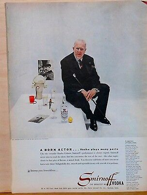 1953 magazine ad for Smirnoff Vodka - Charles Coburn photo ad, cocktail recipes