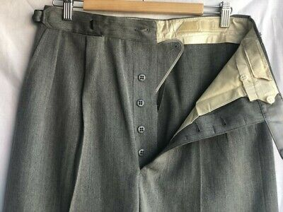 ORIGINAL VINTAGE DEADSTOCK 1940S MEN'S PANTS GREY WOOL BLEND BUTTON FLY W32 x 30