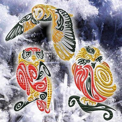 Tribal Owls 10 Machine Embroidery Designs Cd 3 Sizes