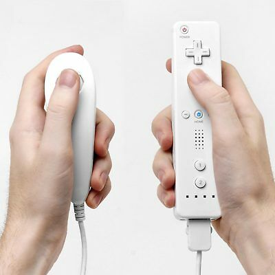 New White Remote Wiimote Nunchuck Controller Set Combo for Nintendo Wii Game