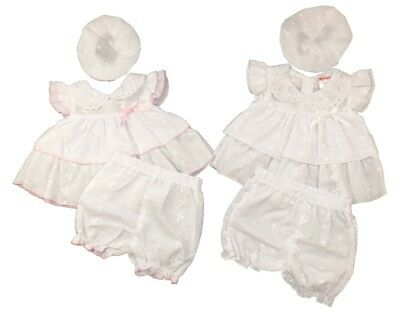 BABY C PREMATURE BRODERIE ANGLAISE DRESS SET WHITE/PINK BOWS 3-5lbs, 5-8lbs