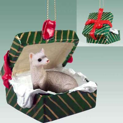 FERRET Christmas GREEN GIFT BOX Ornament HAND PAINTED resin FIGURINE Animal NEW