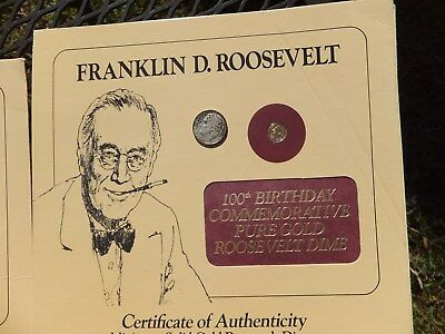 100th Birthday Commemorative 24K Gold Roosevelt Dime with /90% Silver Dime inc!