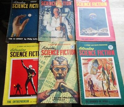 6 x Astounding Science Fiction magazines from 1950, 1951, 1953, nice cover art