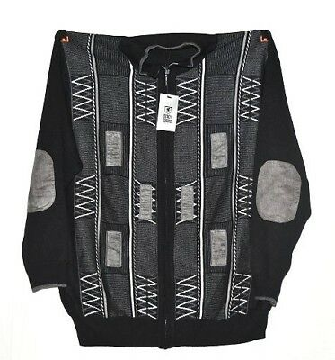 Stacy Adams Men's Full Zip Sweater in Black/White - 5X