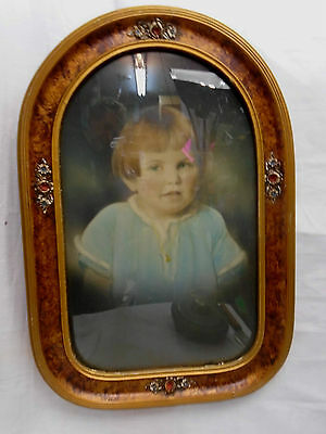 Polychrome Convex Oval Gesso Picture Frame & Hand Tinted Young Girl Photo