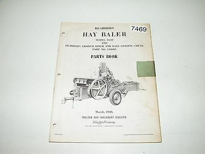 Dearborn Ford Hay Baler Hitch Chute Model 14-49 148085 Parts Catalog 1956