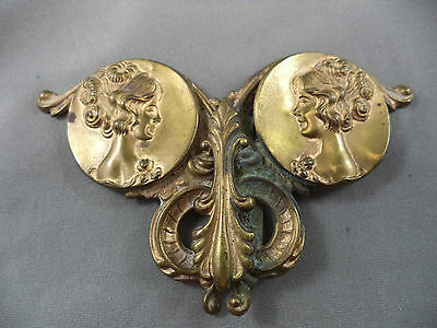 Stunning Antique Art Nouveau Ladies Brass Belt Buckle with Lady Embossed