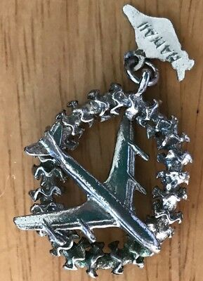 Vintage Unused Sterling Silver? Hawaii Charm; Lei & Plane W/ Pennant Attached