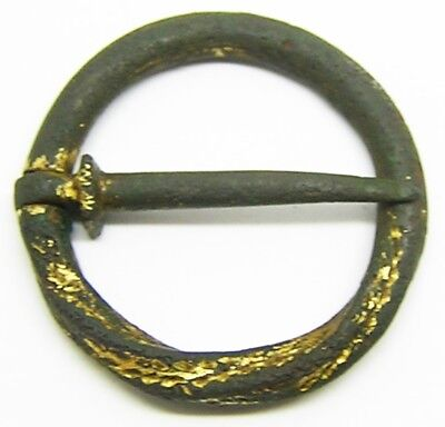 Nice English Medieval Bronze Ring Brooch 13th - 14th century AD Intact / Working