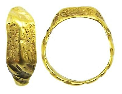 15th century Medieval Silver Gilt Iconographic Ring Holy Family Wearable Size 10