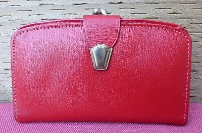 Vintage Red Genuine Leather Clasp Purse Wallet Made In England