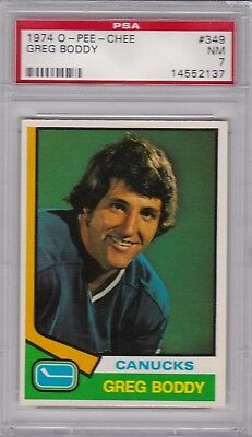 1974 O-PEE-CHEE #349 GREG BODDY PSA 7 NM Vancouver CANUCKS OPC