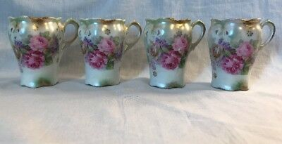 Vintage Lot of 4 China Tea Cups/Mugs made in Germany Floral Pastel
