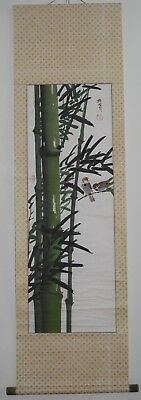 'SPARROWS & BAMBOO' HANGING SCROLL - SIGNED Japanese Zen Gado Brush Painting
