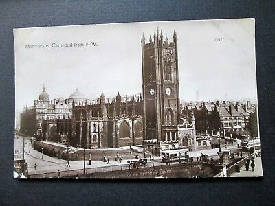 Manchester Cathedral From N. W. - Busy Street, Tram (1913)