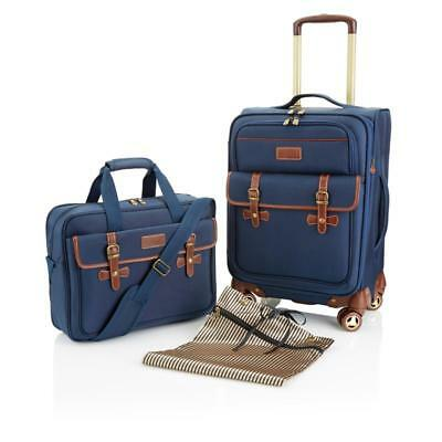 "Samantha Brown SAM 21"" Spinner Messenger Bag SEE COLORS 2 Pc Classic Luggage Set"