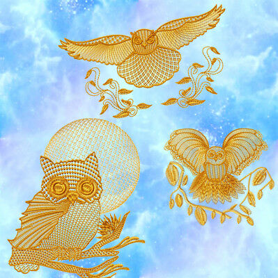 Owls Patterned 10 Machine Embroidery Designs Cd 4 Sizes