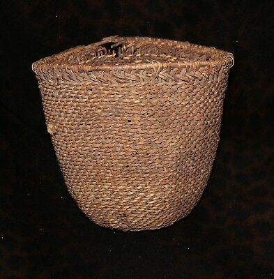 "Very Rare 19th Century Washoe or Paiute Burden Basket with Trade Cloth 8 1/2""h"