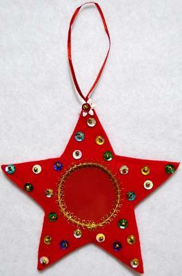 """Hand Crafted 5"""" Red Felt Star Christmas Photo Ornament Decorated W/sequins~Beads"""