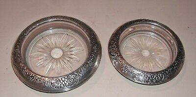 Two (2) Whiting Floral Repousse Crystal Coasters w/ Sterling Silver Collar