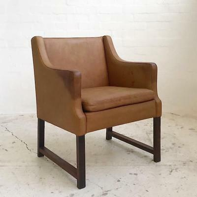 Vintage Danish Leather Lounge Chair - Imported Retro Mid Century Eames