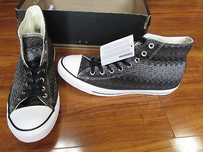 974d3496b4a9 Converse CT Chuck Taylor Hi Woven Shoes Mens Size 10 Black White 147993F   70.