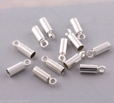 100 pcs silver plated Leather Barrel Cord ends Beads Necklace DIY 3*9mm