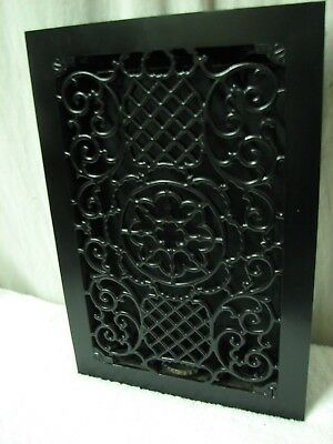 """NM Fancy Antique Cast Iron Louvered Floor Grate Register 9"""" X 14"""" Opening"""