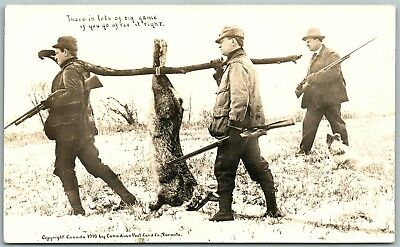 Rabbit Hunting Exaggerated Antique Real Photo Postcard Rppc
